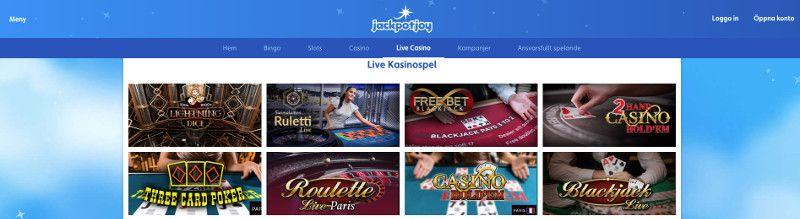 live casino hos jackpotjoy